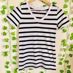 Black/White Striped V Neck Tee
